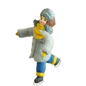 Ватная ёлочная игрушка «Мальчик на коньках», 12 см