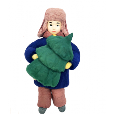 Ватная ёлочная игрушка «Мальчик с ёлочкой», 12 см
