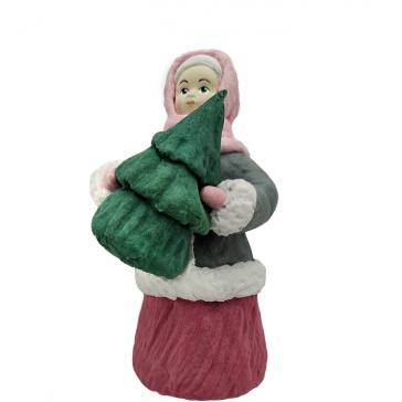 Ватная ёлочная игрушка «Девочка с ёлочкой», 12 см