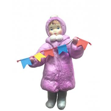 Ватная ёлочная игрушка «Девочка с флажками», 12 см
