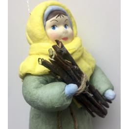 Ватная ёлочная игрушка «Девочка с хворостом», 12 см