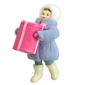 Ватная ёлочная игрушка «Девочка с подарком», 12 см