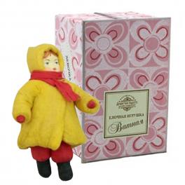 Ватная ёлочная игрушка «Девочка в шарфике»