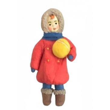 Ватная ёлочная игрушка «Девочка с мячиком»
