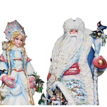 Набор высоких ватных кукол. Дед Мороз и Снегурочка под елку.