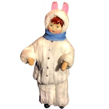 Ватная ёлочная игрушка «Мальчик зайчик»