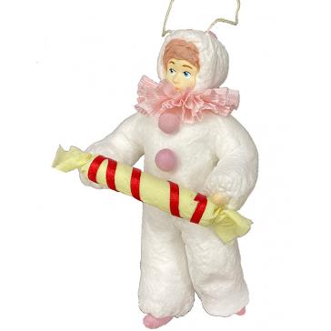 Ватная ёлочная игрушка «Клоун с конфеткой», 12 см