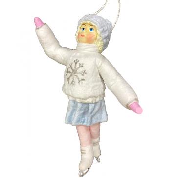 Ватная ёлочная игрушка «Девочка на коньках», 12 см