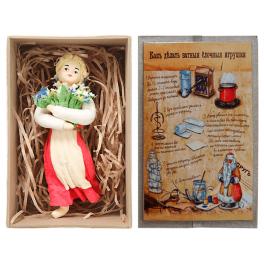 Ватная ёлочная игрушка «Девочка с букетом», 12 см
