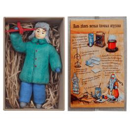 Ватная ёлочная игрушка «Мальчик с самолетом», 12 см