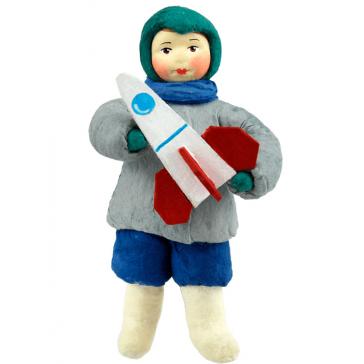 Ватная ёлочная игрушка «Мальчик с ракетой», 12 см