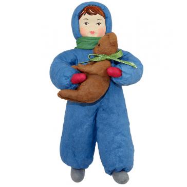 Ватная ёлочная игрушка «Мальчик с мишкой», 14 см