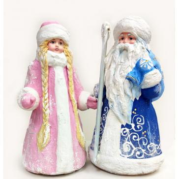 Набор подстановочных кукол из ваты под елку Дед Мороз и Снегурочка